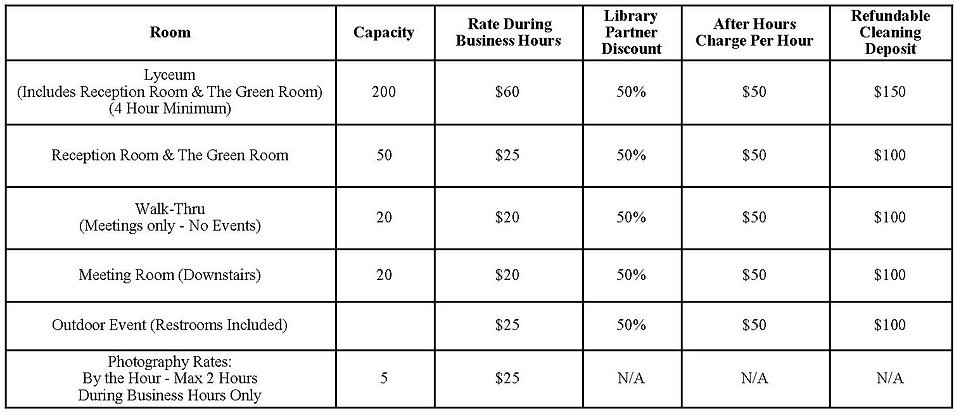 Lyceum and Rental Options and Rates