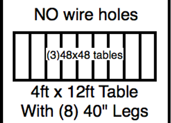 4 x 12 table with 40″ legs with NO perimeter holes