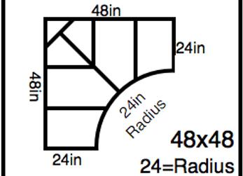 Inside Corner – 48 x 48 -24R (24″ ends)