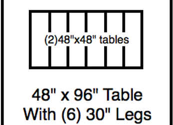 48 x 96 table with 30″ legs