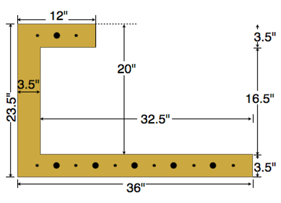 Dual Deck Bracket 36″ – 12″, bundle of 4