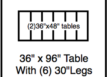 36 x 96 table with 30″ legs with NO perimeter holes