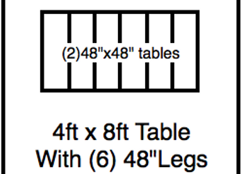 48 x 96 table with 48″ legs