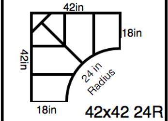 Inside Corner – 42 x 42 -24R (18″ ends)