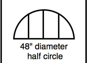 Outside Corner – 48 inch diameter half circle