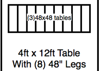 4′ x 12′ table with 48″ legs