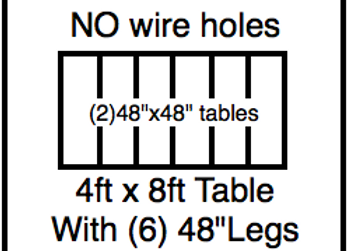 48 x 96 table with 48″ legs with NO perimeter holes