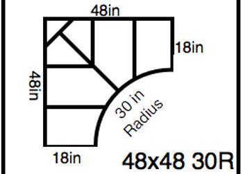 Inside Corner – 48 x 48 -30R (18″ ends)