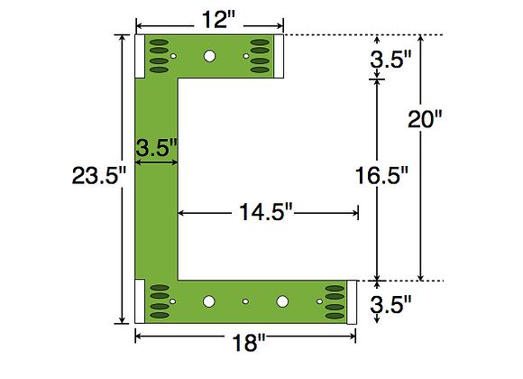 Dual Deck Bracket (Notched) 18″ – 12″, bundle of 4