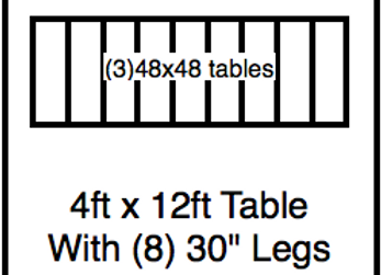 4′ x 12′ table with 30″ legs