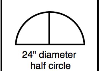 Outside Corner – 24 inch diameter half circle