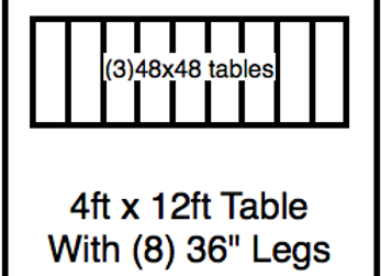 4′ x 12′ table with 36″ legs