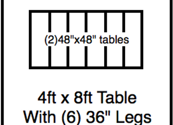 48 x 96 table with 36″ legs