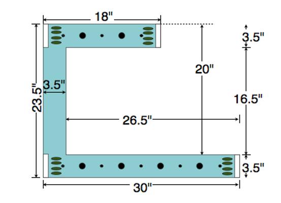 Dual Deck Bracket (Notched) 30″ – 18″, bundle of 4