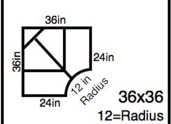 Inside Corner – 36 x 36 -12R (24″ ends)