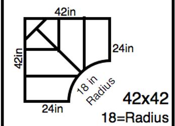 Inside Corner – 42 x 42 -18R (24″ ends)
