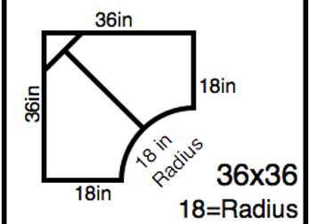 Inside Corner – 36 x 36 -18R (18″ ends)