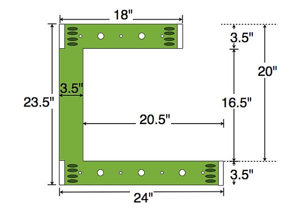 Dual Deck Bracket (Notched) 24″ – 18″, bundle of 4