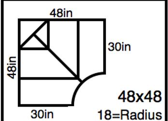 Inside Corner – 48 x 48 -18R (30″ ends)