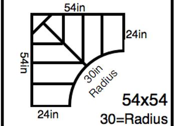 Inside Corner – 54 x 54 -30R (24″ ends)