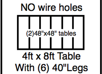 48 x 96 table with 40″ legs with NO perimeter holes