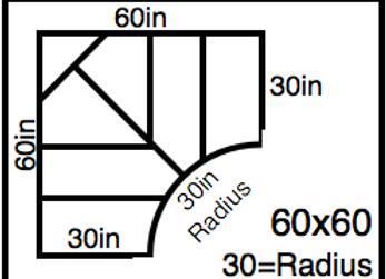 Inside Corner – 60 x 60 -30R (30″ ends)
