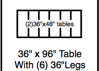 36 x 96 table with 36″ legs