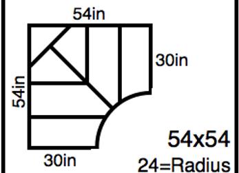 Inside Corner – 54 x 54 -24R (30″ ends)