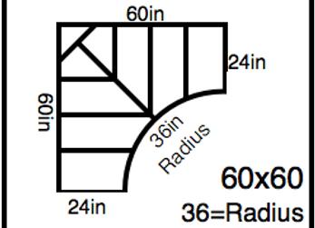 Inside Corner – 60 x 60 -36R (24″ ends)