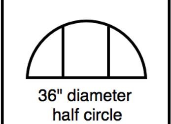 Outside Corner – 36 inch diameter half circle