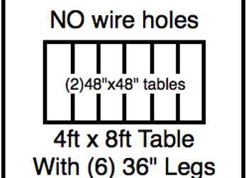 48 x 96 table with 36″ legs with NO perimeter holes