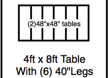 48 x 96 table with 40″ legs