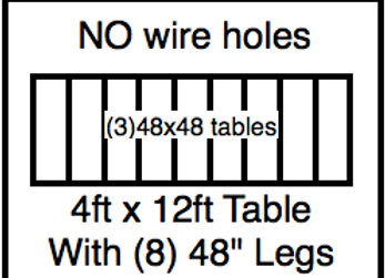 4 x 12 table with 48″ legs with NO perimeter holes