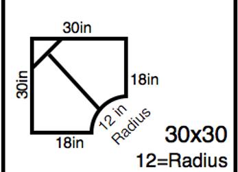 Inside Corner – 30 x 30 -12R (18″ ends)