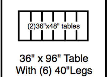 36 x 96 table with 40″ legs with NO perimeter holes