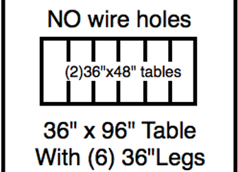 36 x 96 table with 36″ legs with NO perimeter holes