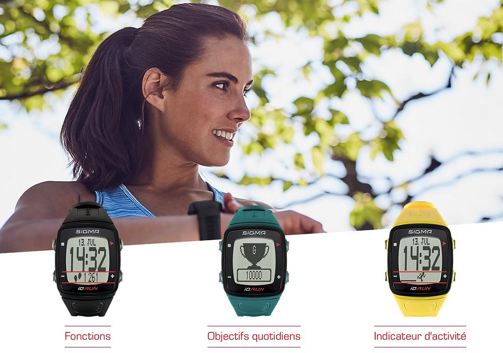 les fonctions et nombreuses couleurs de la montre Sigma iD.RUN