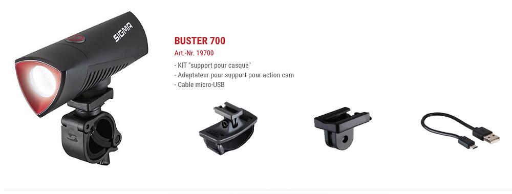 Pack Buster 700 avec support et câble USB