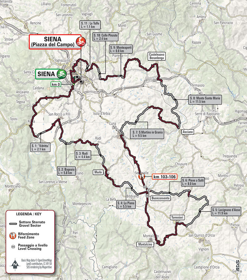 Parcours Strade Bianche 2019