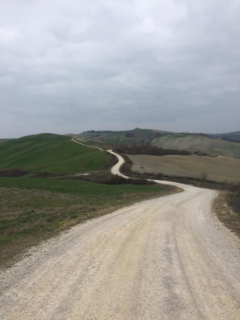 Une route blanche sur les crêtes de Montalcino
