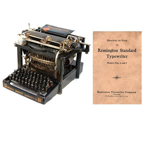 Remington No.6 or No.7 Standard Typewriter Instruction Manual