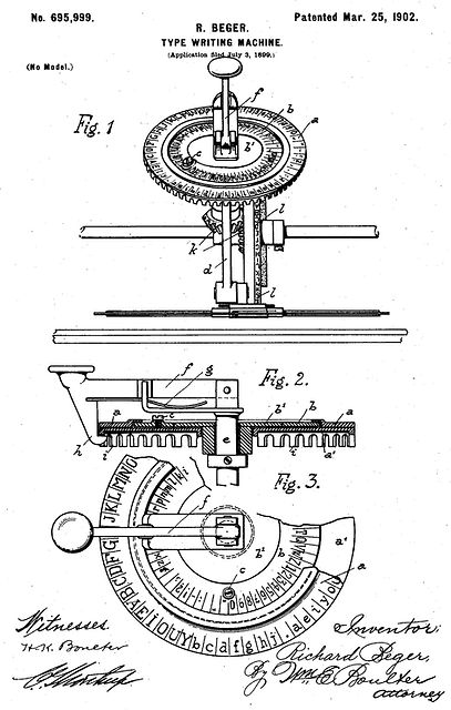 Diskret Index Typewriter Patent
