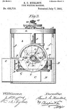 Typewriter invented by Samuel C. Hurlbut