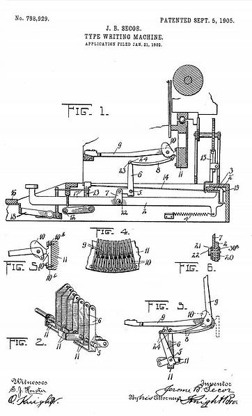 Secor Typewriter Patent