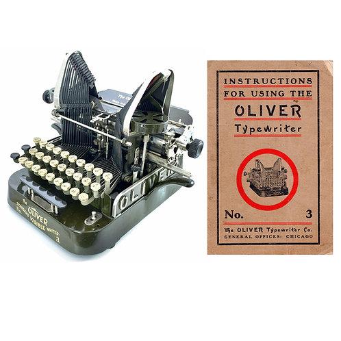 Oliver No.3  Typewriter Instruction Manual