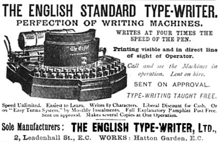The English Typewriter Ad