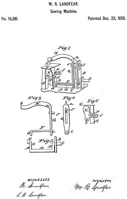 Landfear's Sewing Machine Patent