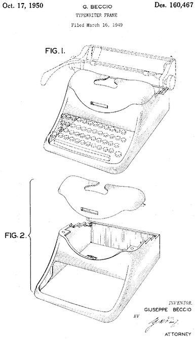 Olivetti Lexikon and Graphika Housing Patent