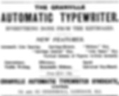 The Granvelle Automaic Typewriter Ad