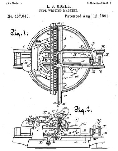 Odell No.2 Typewriter Patent